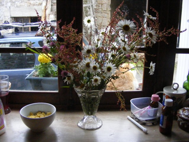 Wild flowers on the windowsill of my favourite kitchen.